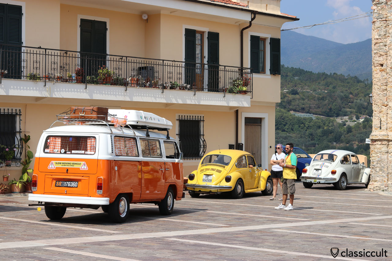 air-cooled VWs at San Michele church, RiVWiera Meeting 2016