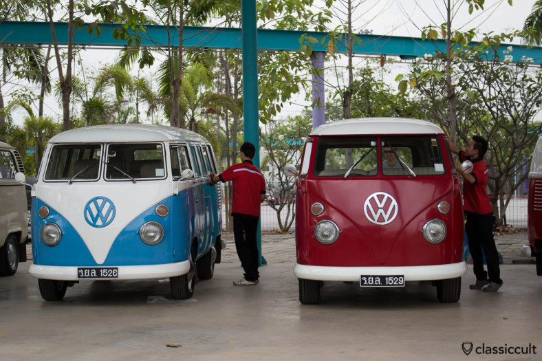 VW T1 Bus of The King of Thailand getting polished at Siam VW Festival 2014