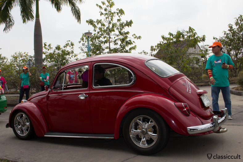 red VW 1300 with Porsche fuchs wheels