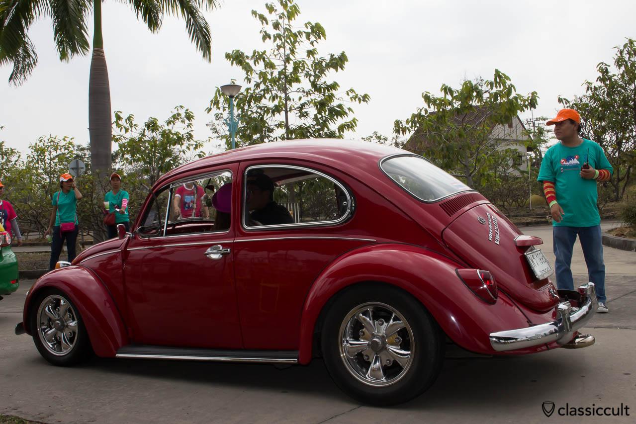 red VW 1300 with Porsche fuchs wheels