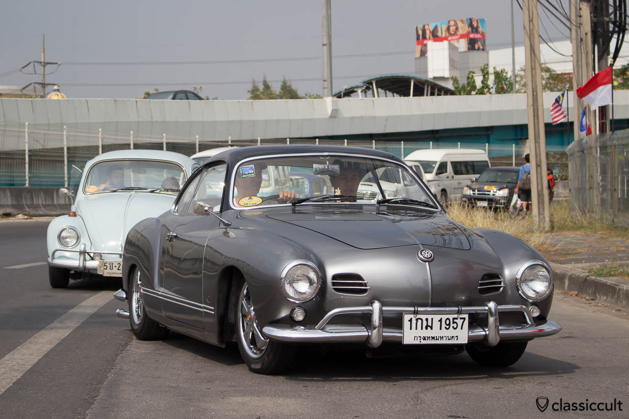Superb 1957 VW Karmann-Ghia Typ 14 arriving at Siam VW Festival 2014.