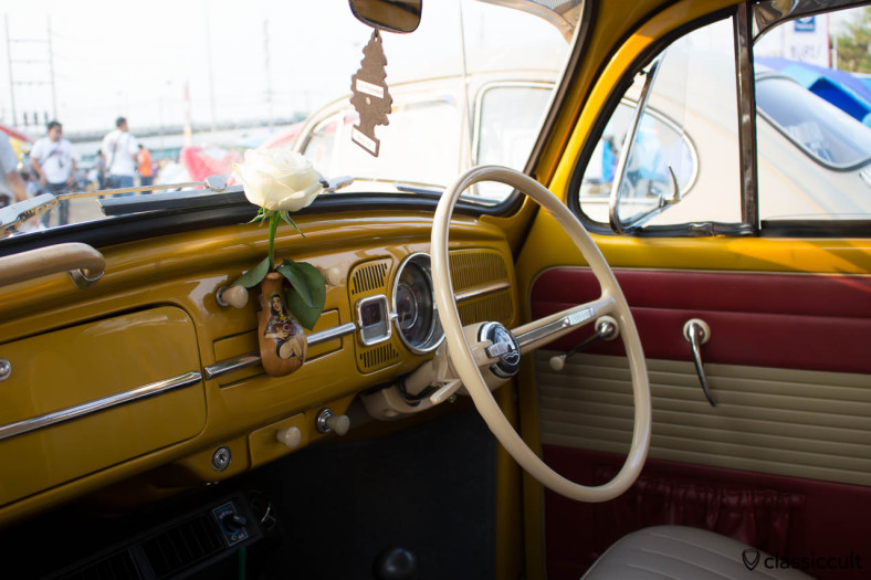 VW Bug Dash with flower vase