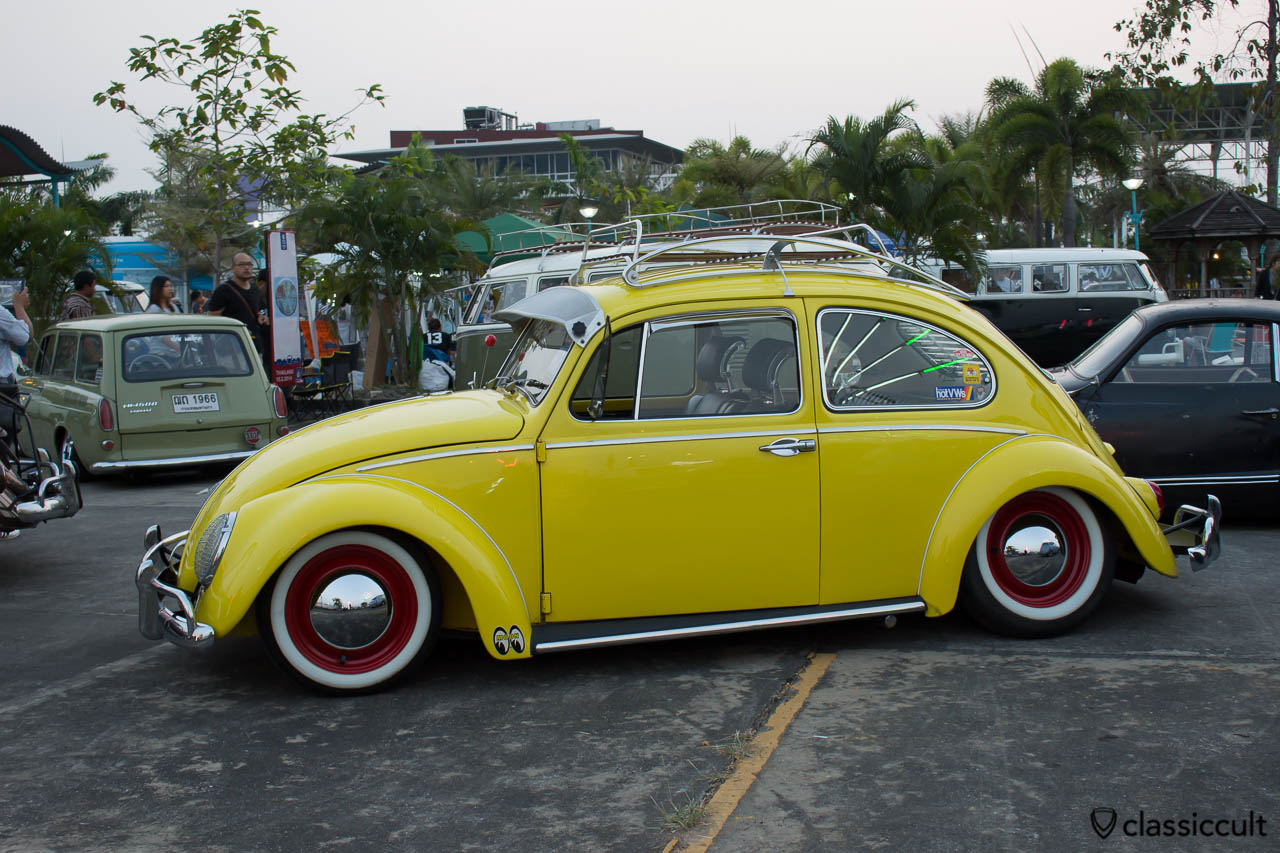 slammed yellow VW Bug
