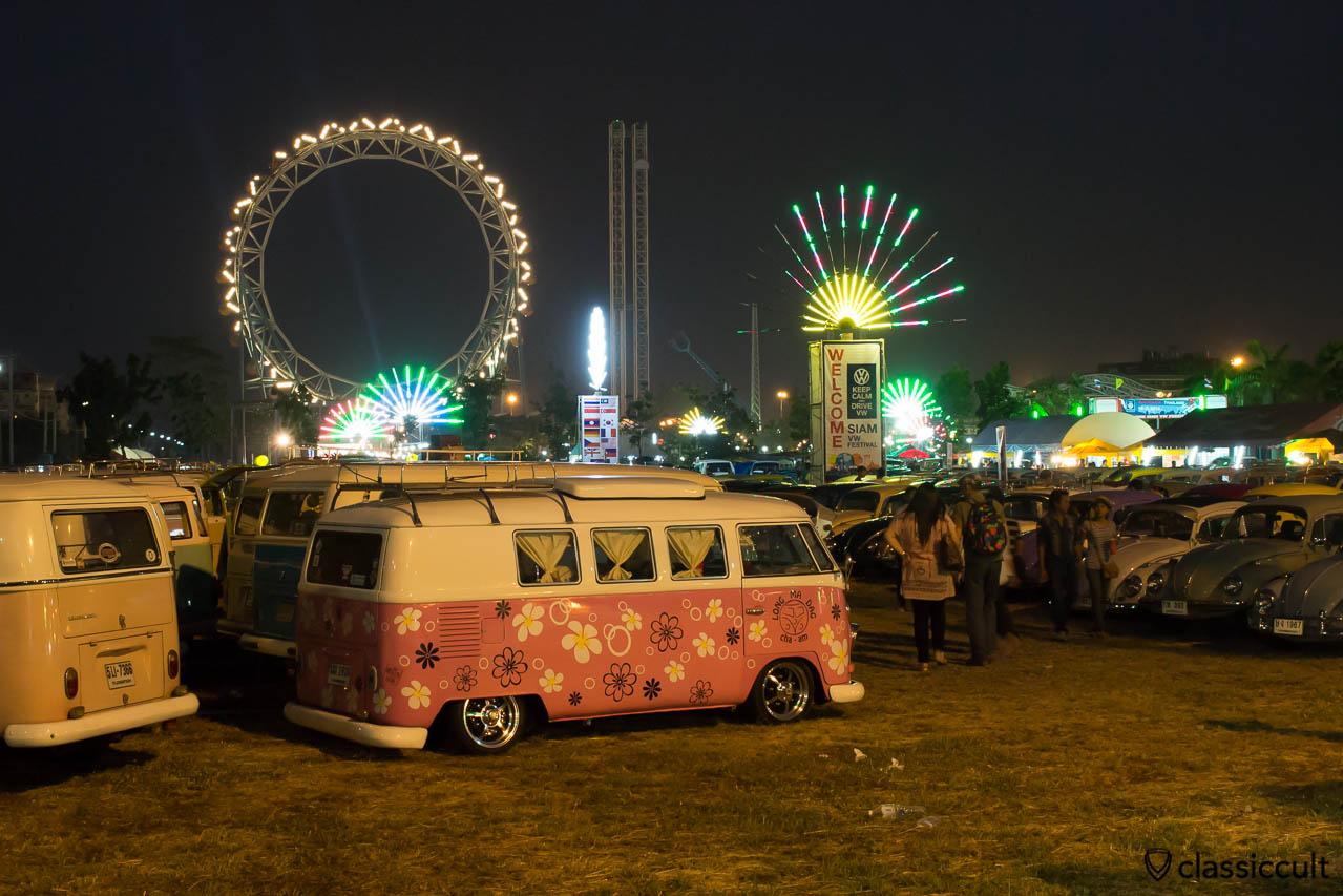 T1 Camper Van at night in Bangkok Siam VW Show 2014