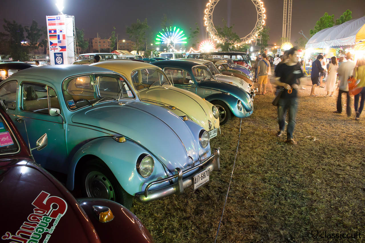 VW Beetles at night, Siam Show Bangkok