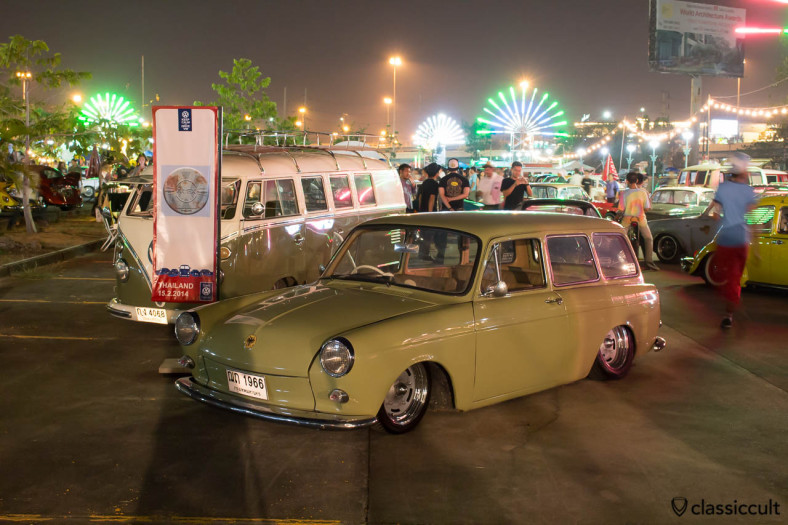 slammed 1966 Squareback at night in Bangkok