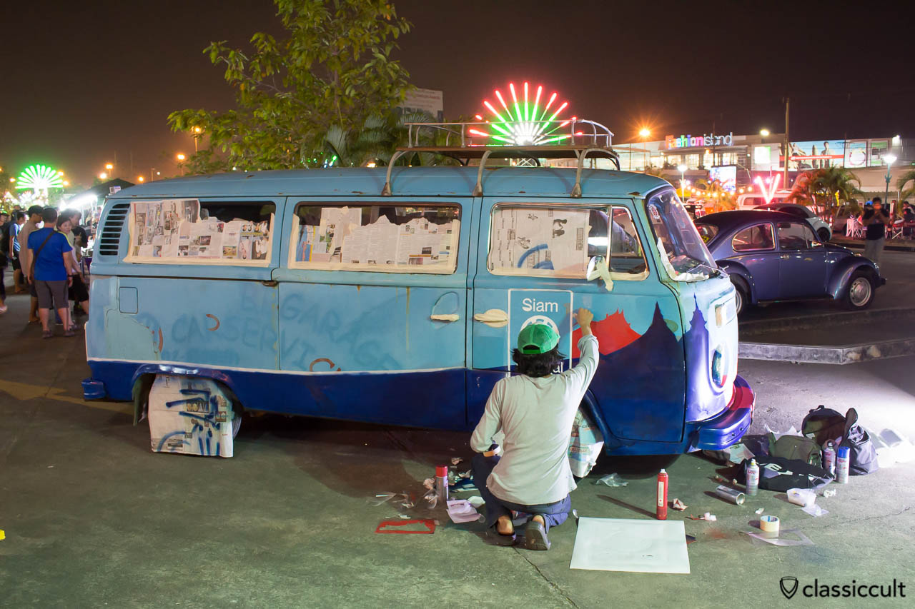 VW Bus graffiti painting, Siam VW Show 2014