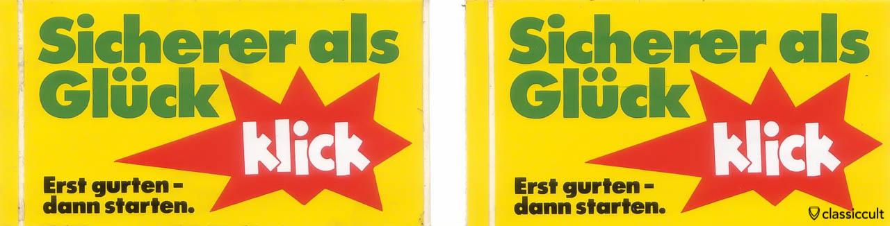 Vintage Sticker: Erst gurten - dann starten.