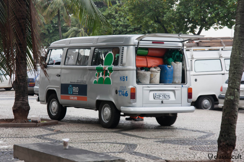 silver VW Bus T2c Rio Prefeitura, Copacabana, Rio, Brazil, May 23, 2013