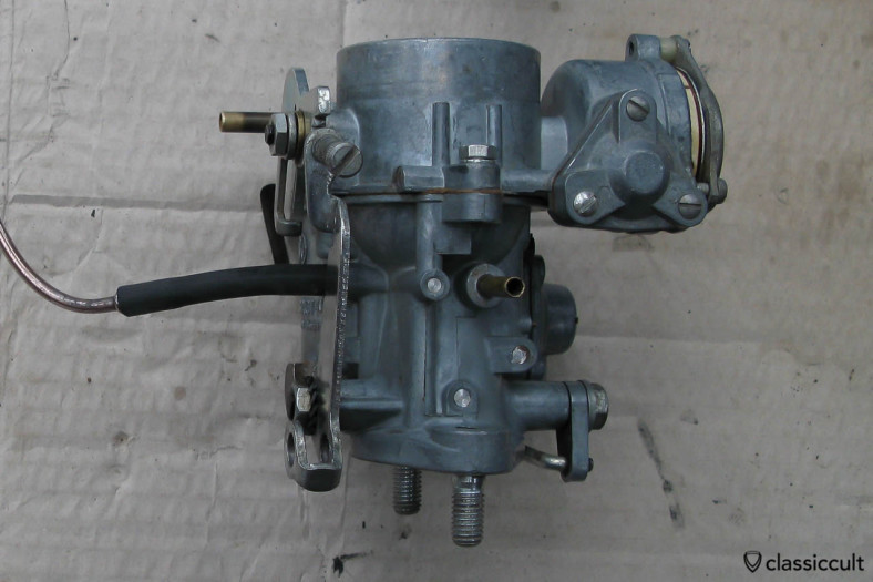 Solex 28 PICT1 carburetor VW # 113129023J with connection tube for VW Beetle with M5 Saxomat, side view