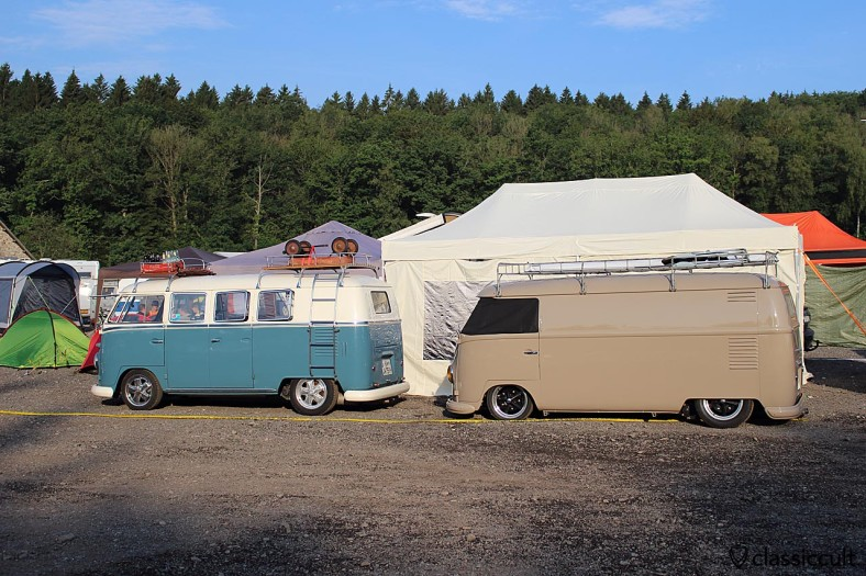 lowered Volkswagen T1 Bus, Le Bug Show Camping 2014