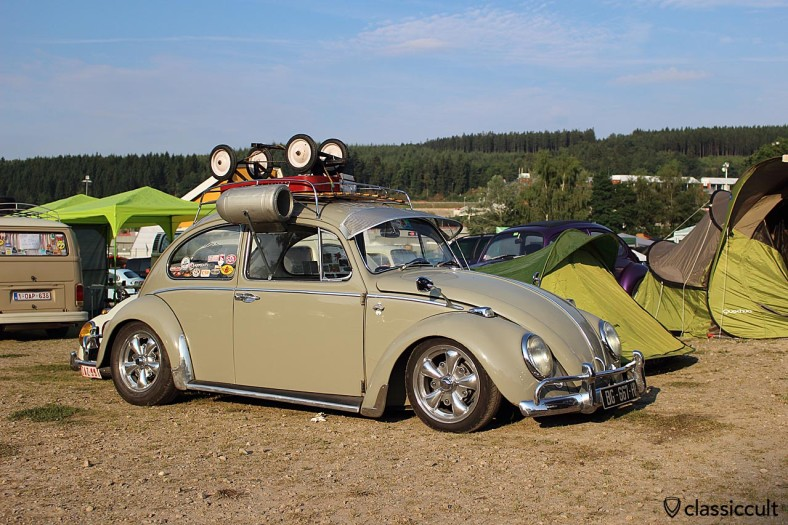VW Beetle with accessories like Albert swan mirror, sun protector, roof rack and alloy wheels