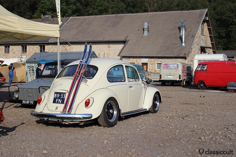 white VW Beetle with ski rack