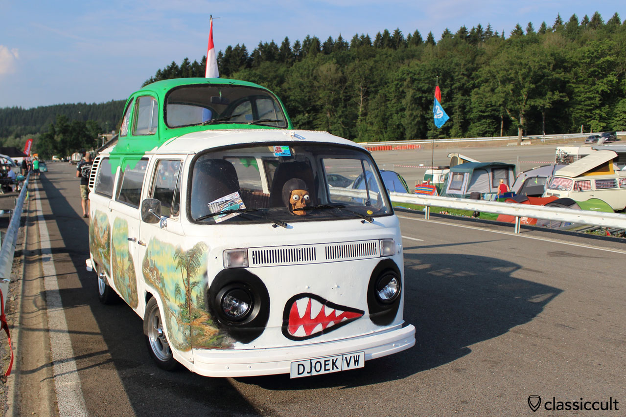 VW Bay Bus with welded VW Beetle roof, the ugly side of SPA 2014