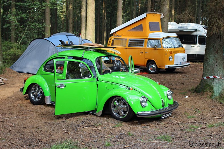 green 1973 VW Beetle