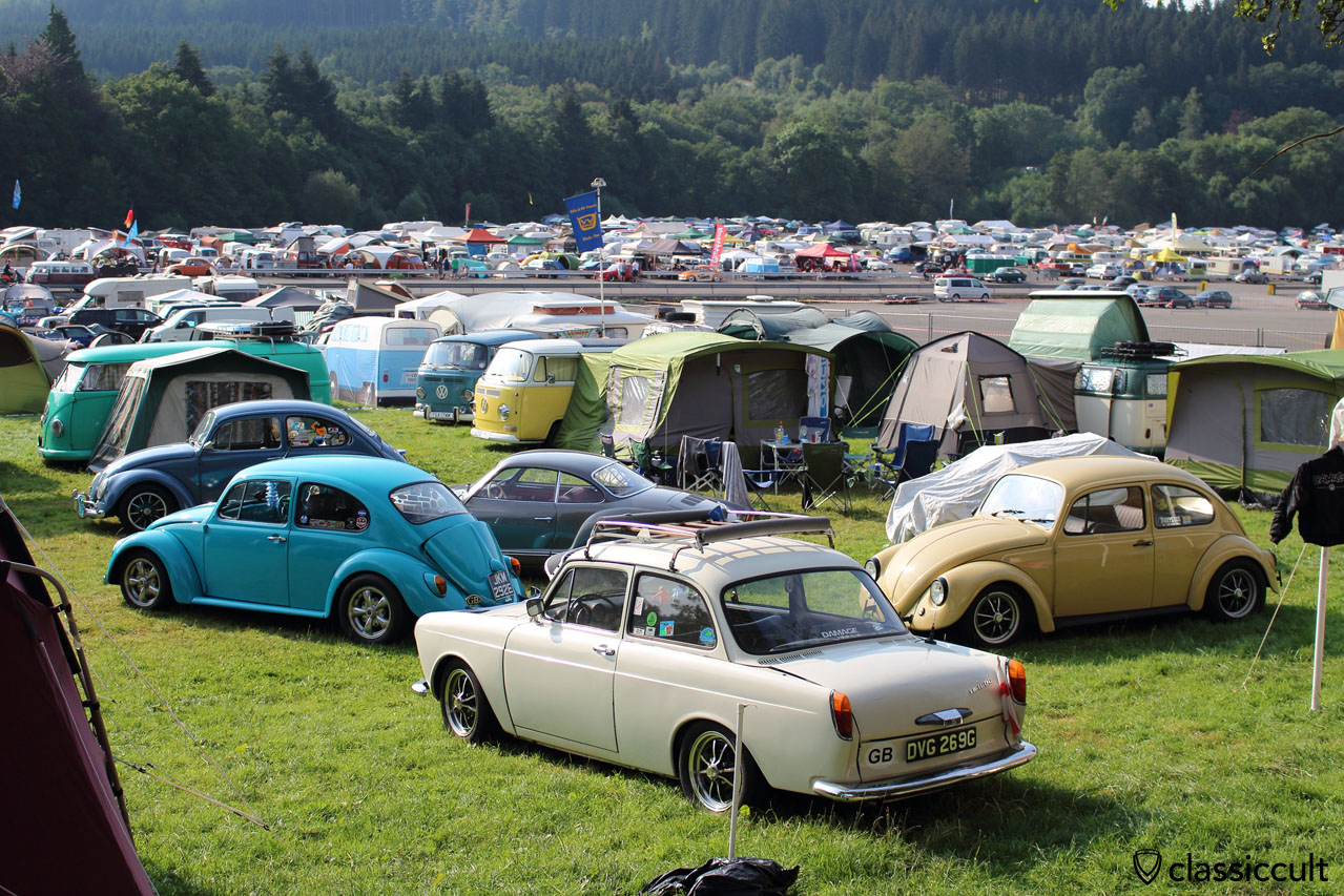 many classic VWs at Bug Show Spa Campground