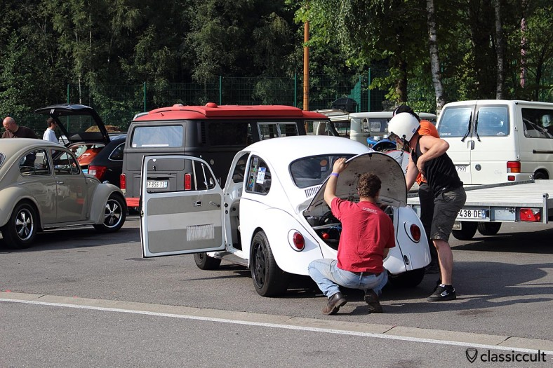 VW Beetle gets last check before the Spa Francorchamps circuit race.