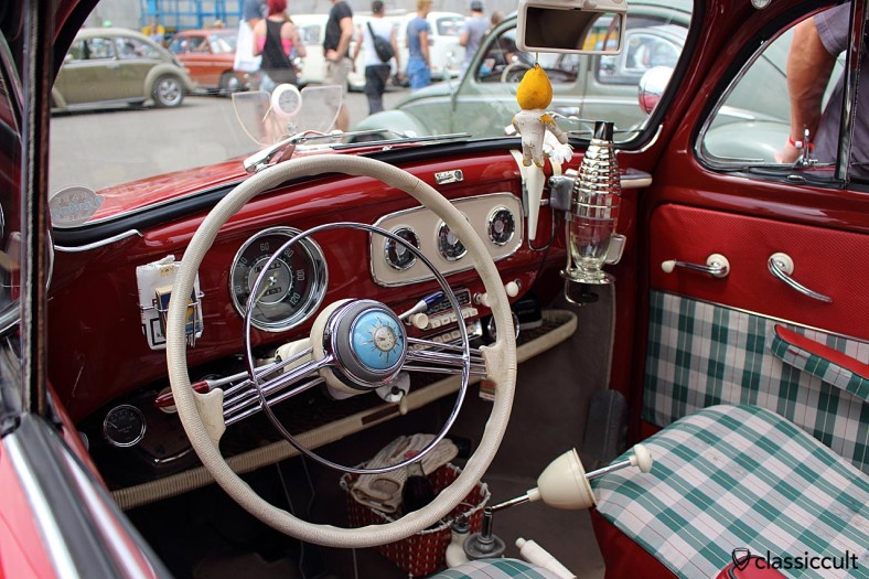 VW Oval Bug dashboard with accessories like Anker horn button clock, Moto Meter rally gauge and Dehne folding shifter