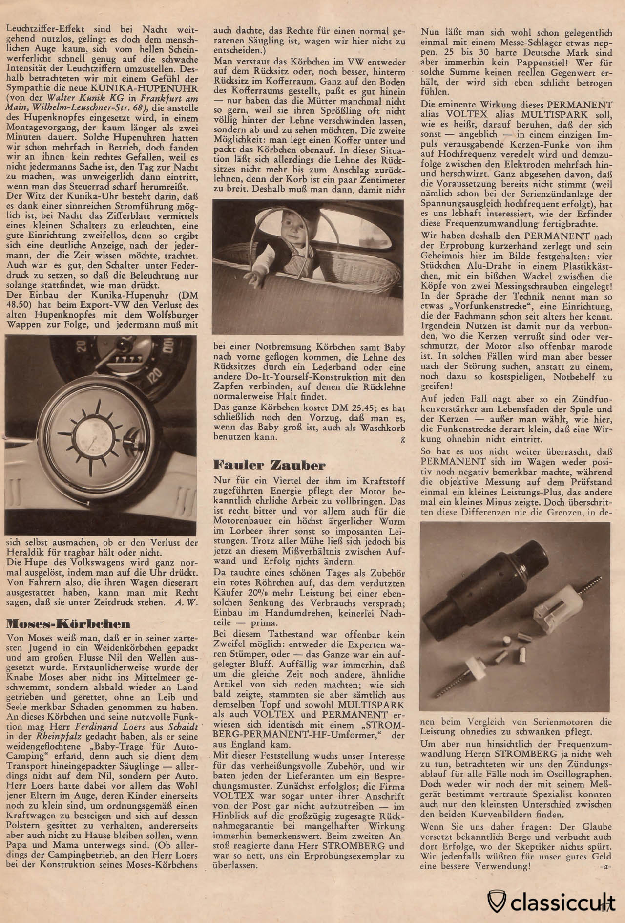 VW Oval bug steering wheel clock in Gute Fahrt Magazin 1958