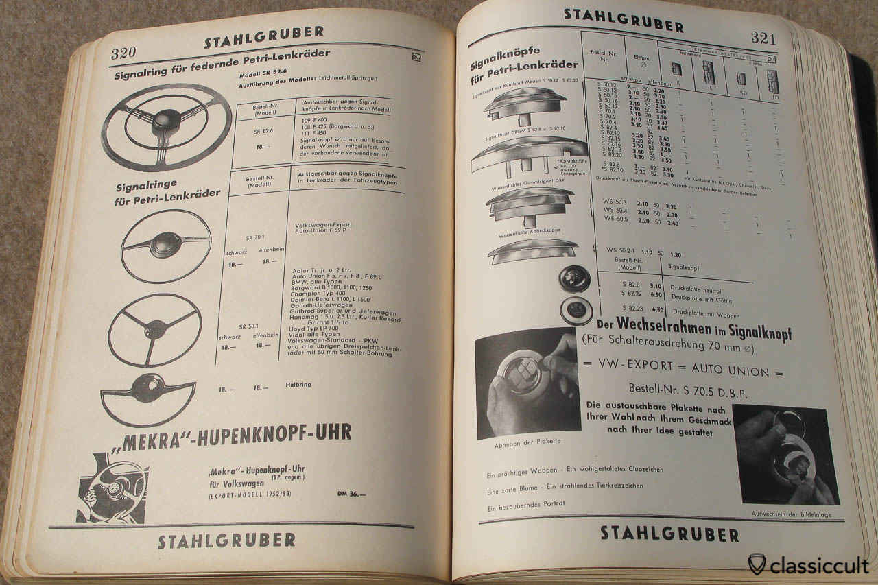 VW Split Beetle Batwing Steering Wheel in Stahlgruber Parts Catalog 1955