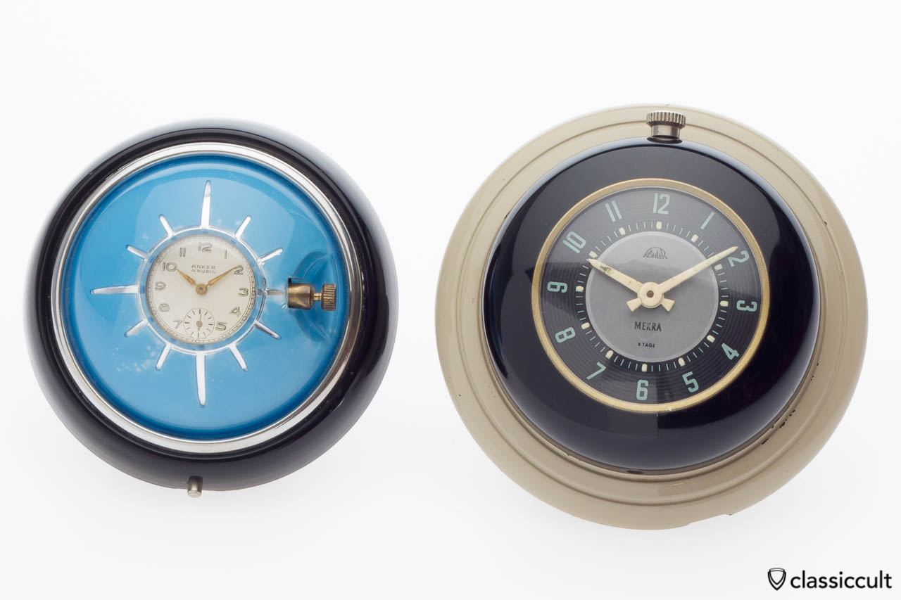 compare of VW Split and VW Oval Beetle steering wheel clock
