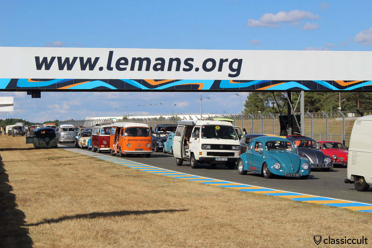 Classic VW traffic jam at the Le Mans race track