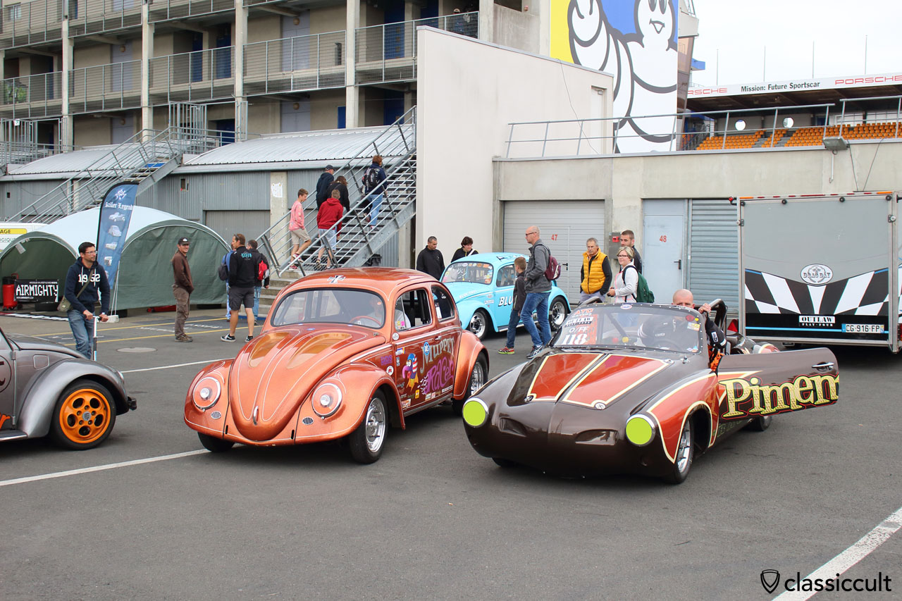 Piment Racer and VW Muppet Racer ready for race at Le Mans
