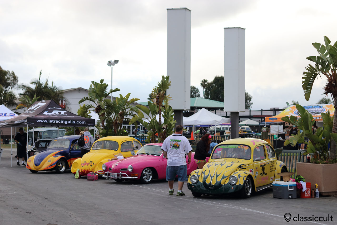Racing Beetles getting cleaned for Show & Shine, 6:17 a.m.