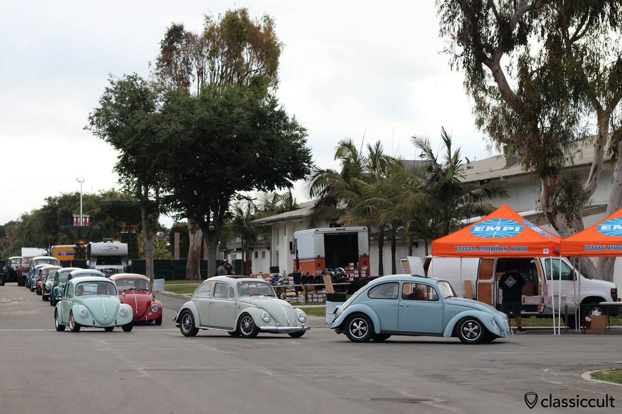 plenty of Cal-Look VW Beetles at The Classic 2016, cruising to Show & Shine, 6:19 a.m., 12th June, Costa Mesa, California