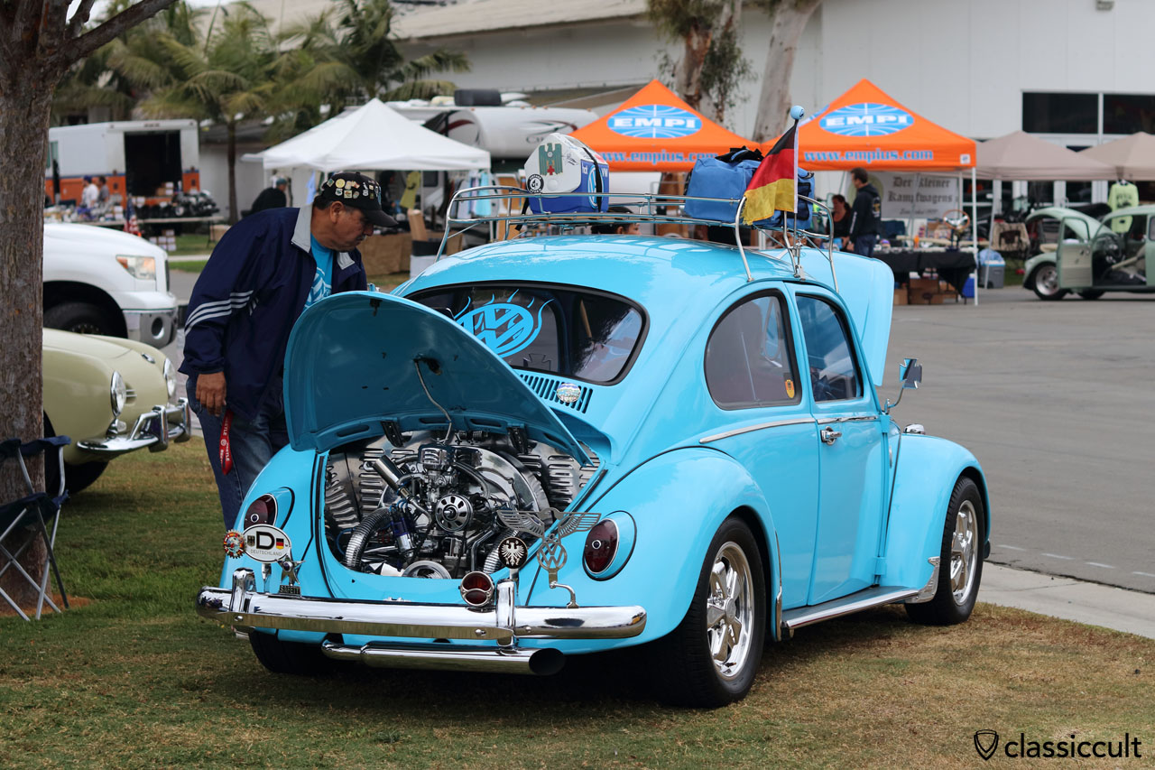 blue VW Beetle, with Safety star and ADAC Eagle badge
