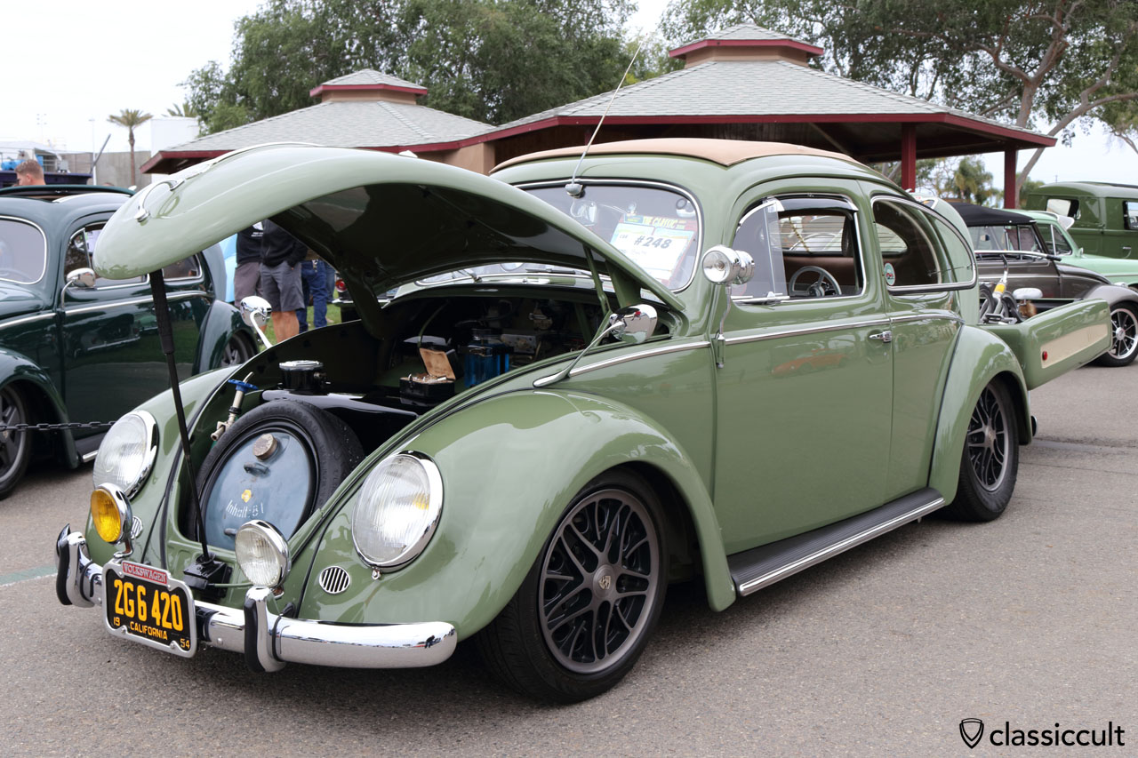 1954 VW Oval Beetle with single wheel trailer, Hella searchlight, Albert swan neck mirrors and Bosch foglights