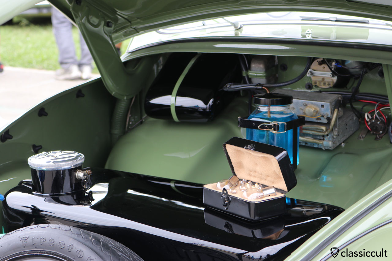 VW Oval Beetle with spare Bosch bulb box and SWF glass washer under the hood
