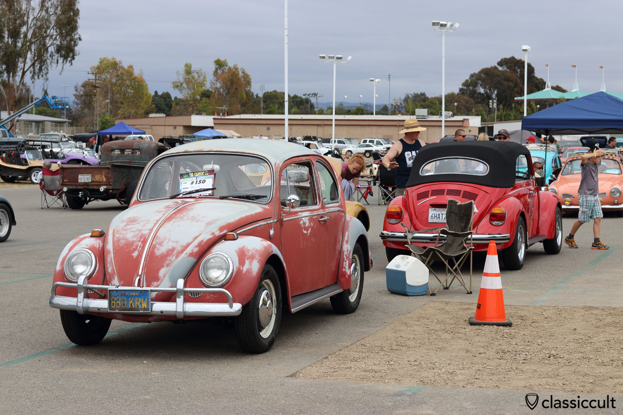 red 1966 patina VW Beetle