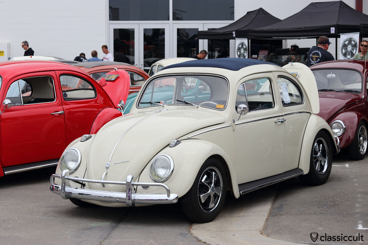 1960 Sunroof VW Sedan, pearl white, with fuchs wheels, DKP Club, Ron Fleming