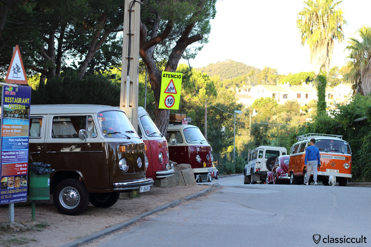 early in the morning, air-cooled VWs parking at Club Aire Libre, Tossa de Mar