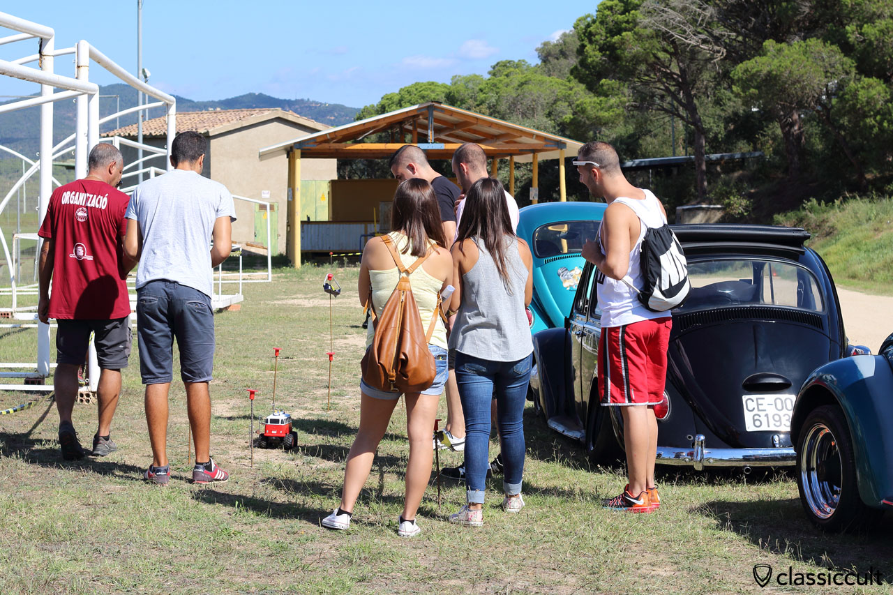 VW Bus toy car skill test beside the football field of Club Aire Libre, VW Meeting Tossa de Mar 2015