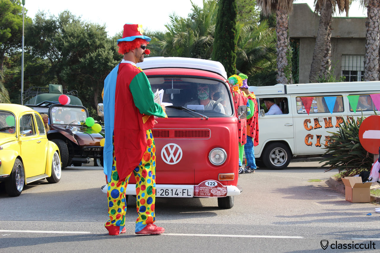 The clown starts the Costa Brava Tourist Rally 2015 :-)