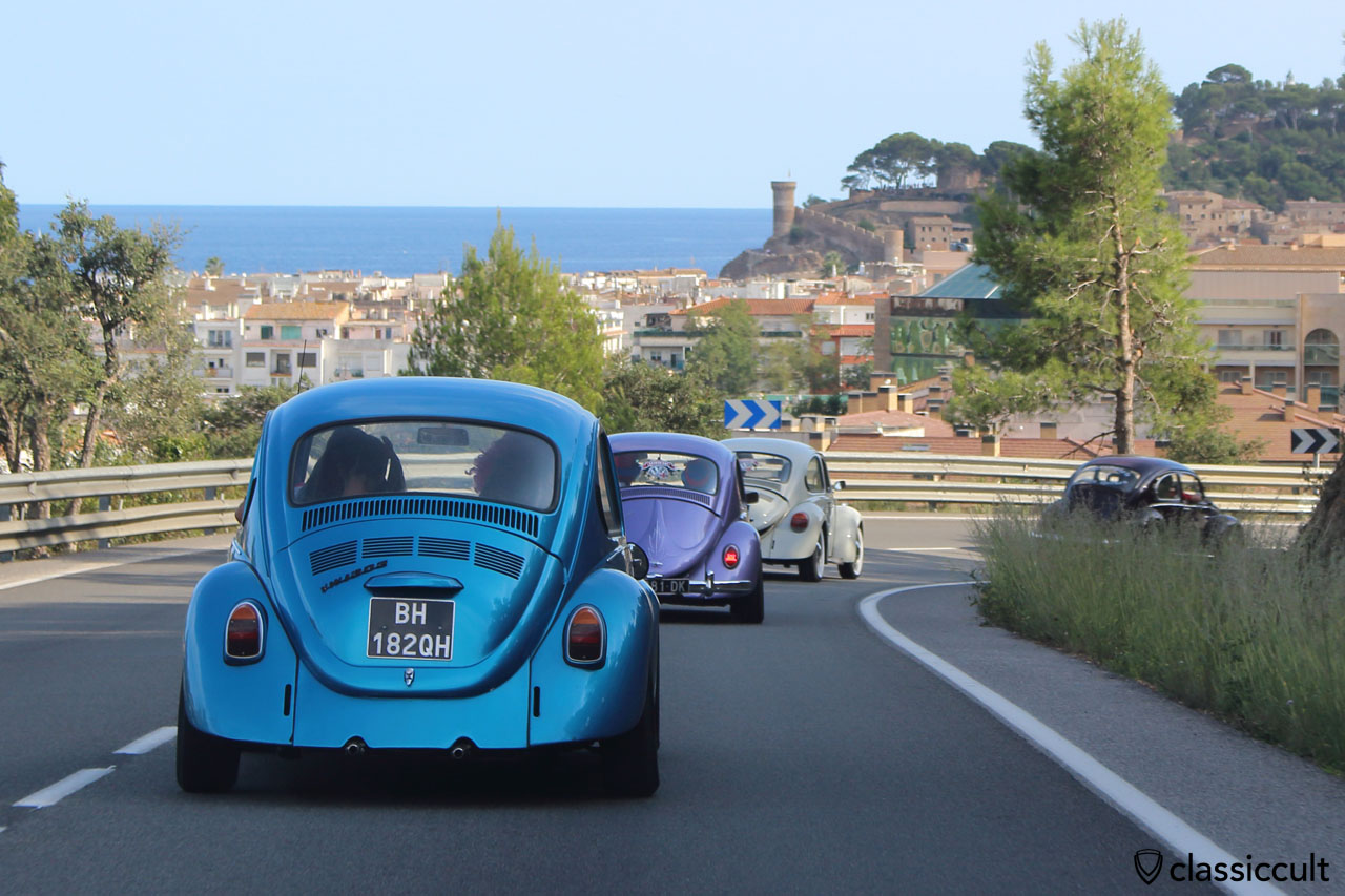 great view of four VW Beetles and Tossa de Mar