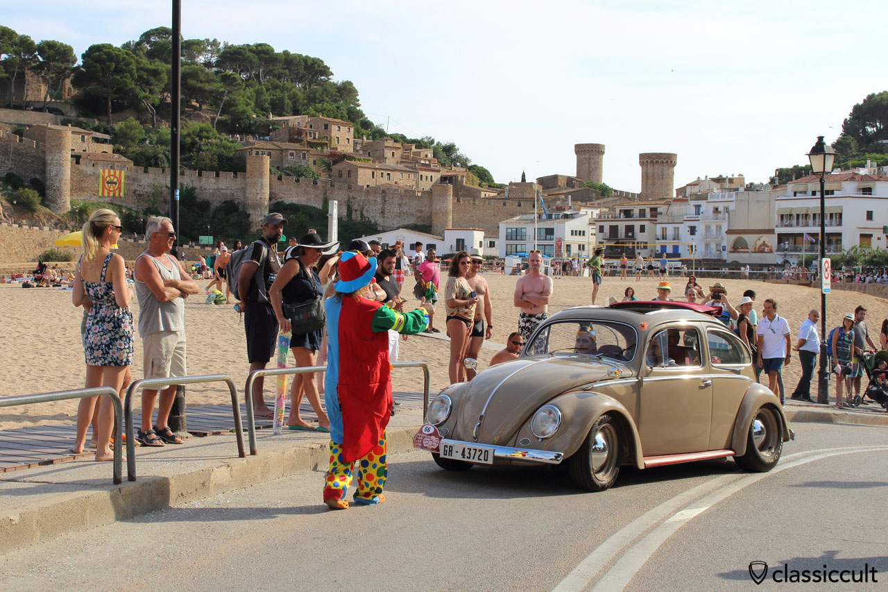 VW Oval Ragtop, the Circus Clown, Tossa de Mar Beach, VW Meeting 2015