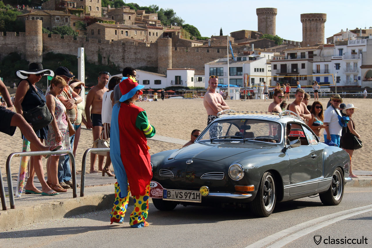 Karmann Ghia from Germany, Tossa de Mar Beach, VW Meeting 2015