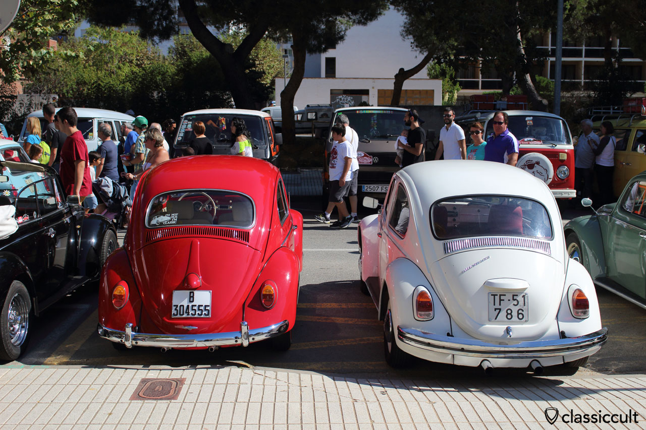 red and white VW Beetle