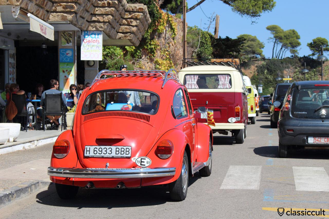VW fans cruising along the Tossa de Mar beach front