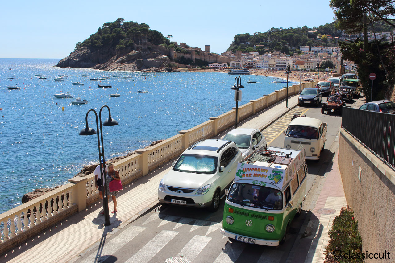 VW fans cruising along the Tossa de Mar beach front