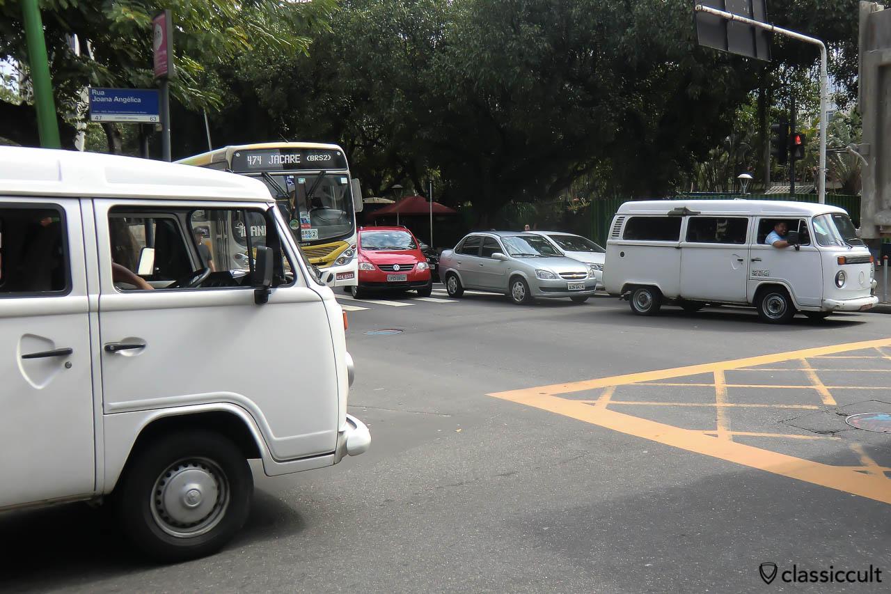 two Brazilian Kombi VW Buses, Ipanema, Rio de Janeiro, Brazil, May 22, 2013