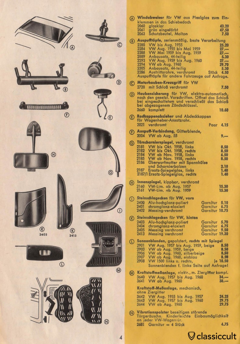Vintage VW Beetle Accessories like GHE Happich day night mirror, Perohaus door anti-vibration pads and VDO Tank gauge.