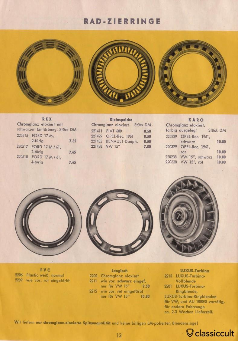 Wheel trim rings for vintage Volkswagen Beetle