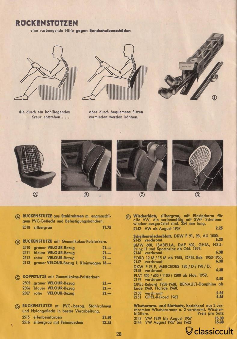 Volkswagen Beetle seat back support