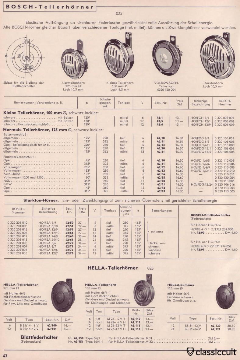 Vintage Bosch horns