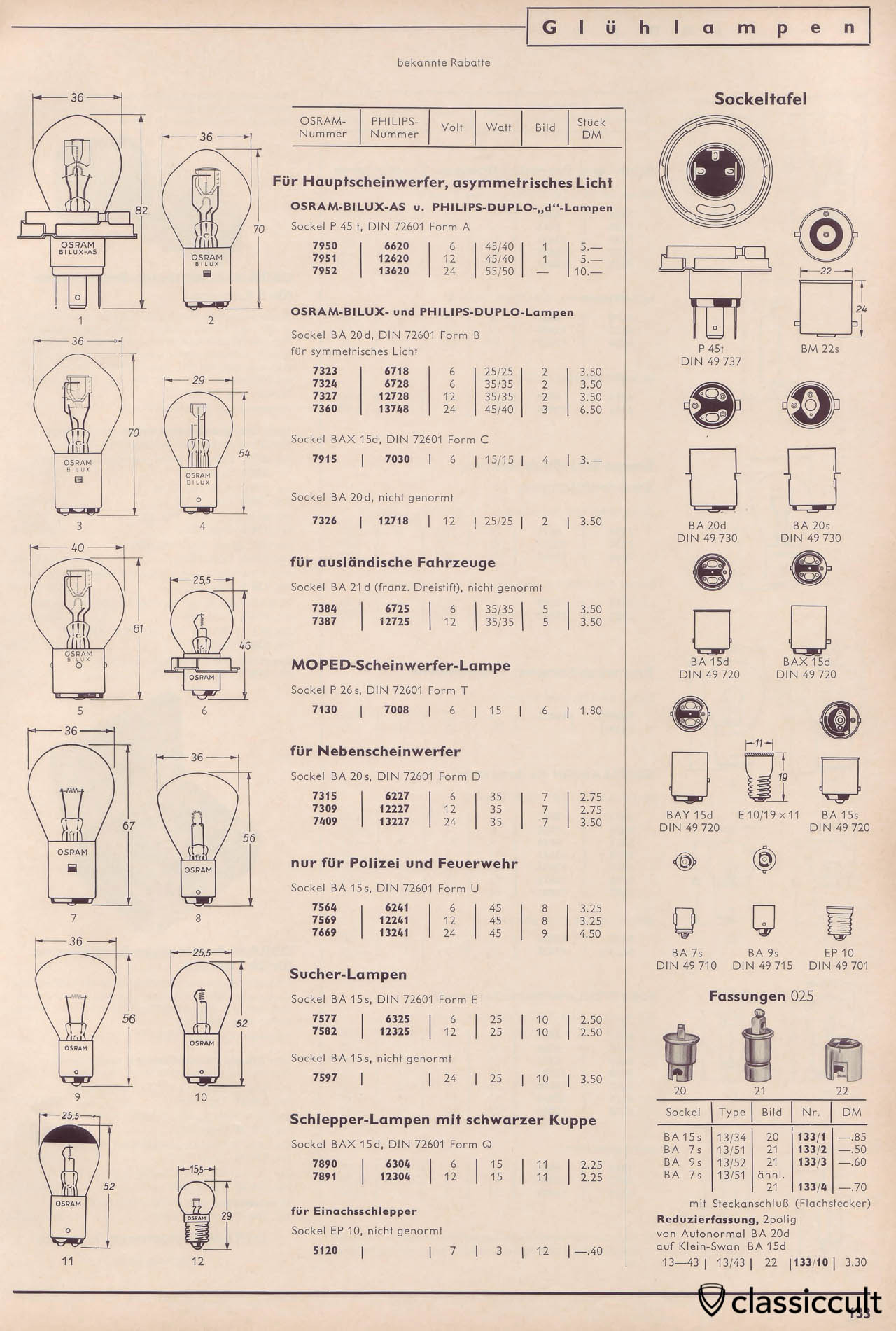 Vintage VW Light Bulbs from Osram and Philips Bulbs for Bilux Headlights, Fog Lights, Police Fire Department Lights and Search Lamps, Catalog 1965 Page 133