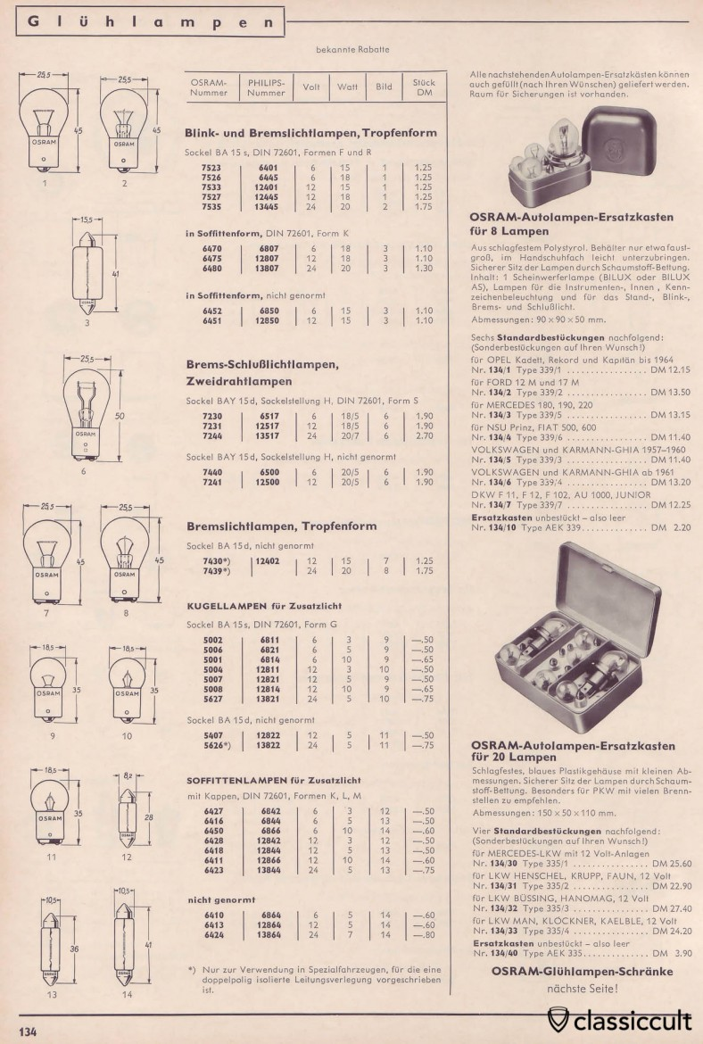 Osram and Philips Light Bulbs for Indicator Turn Signal Lights, Stop and Tail Lights, catalog 1965, Page 134